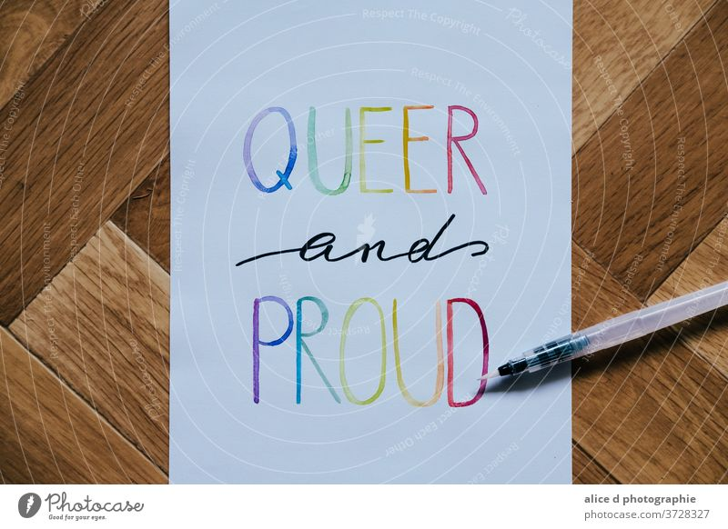 queer and proud written with watercolor Watercolor Rainbow Rainbow flag lgbt lgbtq lgbtq+ lgbt flag Homosexual pride diversity Symbols and metaphors Flag