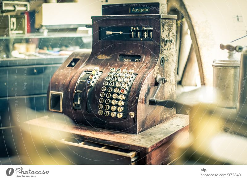 11 Mark and 11 Pfennig Cash register Crank Keyboard Old Money Nostalgia Past Shopping Paying Digits and numbers Vintage Ancient aunt Emma German penny Patina