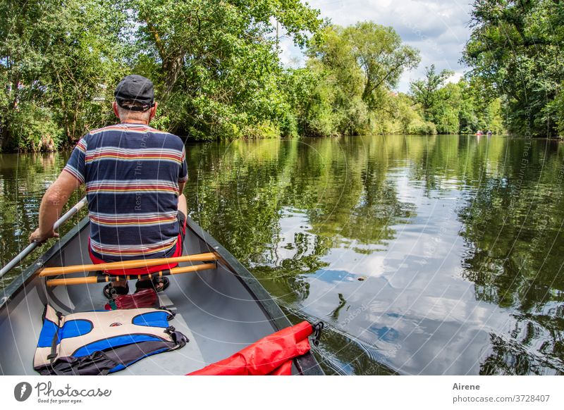 off on vacation! boat ship Calm bank idyllically River enz Canoe Kayak Canadian canoe Rowboat Boatman Boating trip Life jacket Adventure River bank Nature