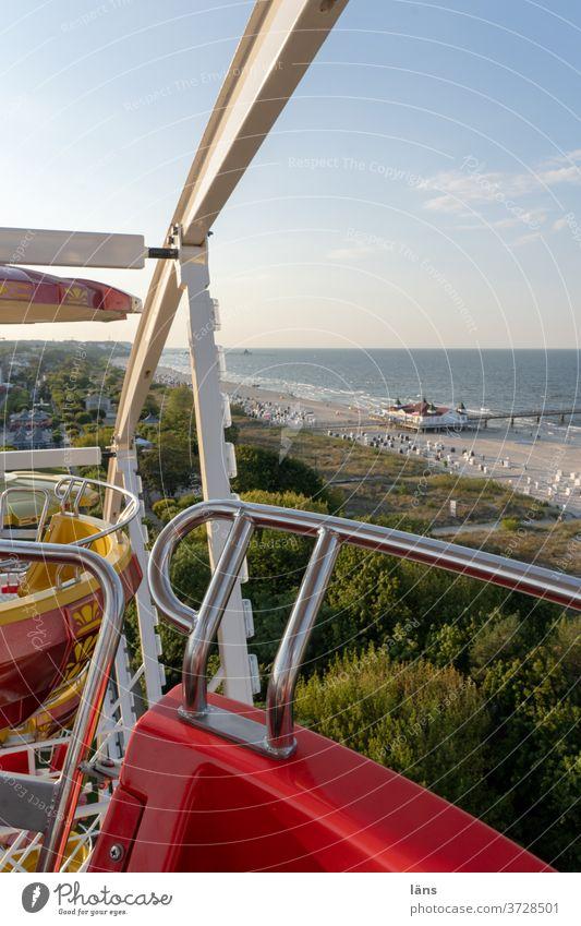 City tour |Giant wheel in Ahlbeck Baltic Sea Ferris wheel Sea bridge Beach Ocean Vacation & Travel Tourism Coast Sky Mecklenburg-Western Pomerania Baltic coast