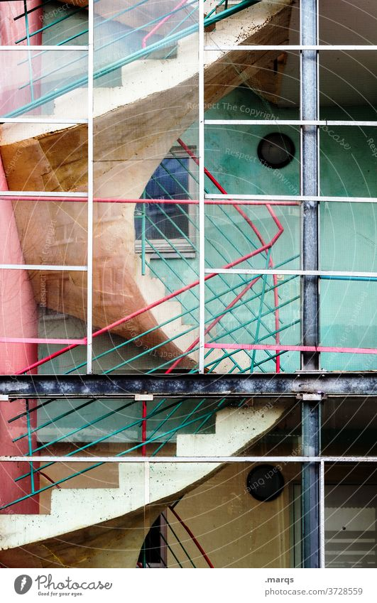 staircase Stairs Staircase (Hallway) Banister Architecture Building Go up Colour Turquoise Pink Red Manmade structures
