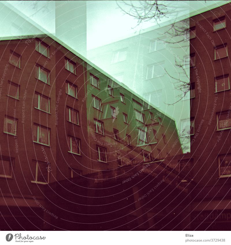 Analogue double exposure: gloomy brown blocks of flats block of flats House (Residential Structure) somber conceit built Architecture High-rise Deserted