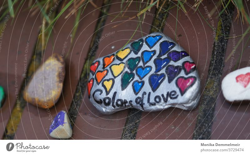 Colors of Love Wanderstein Stone Photography Colour photo Exterior shot Camera Macro (Extreme close-up) Close-up Detail colors Wall (barrier) Deserted
