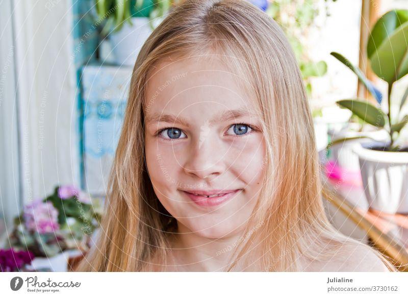 Cute girl child kid preschooler schoolgirl six seven blue blond white childhood Caucasian european five eight portrait cute