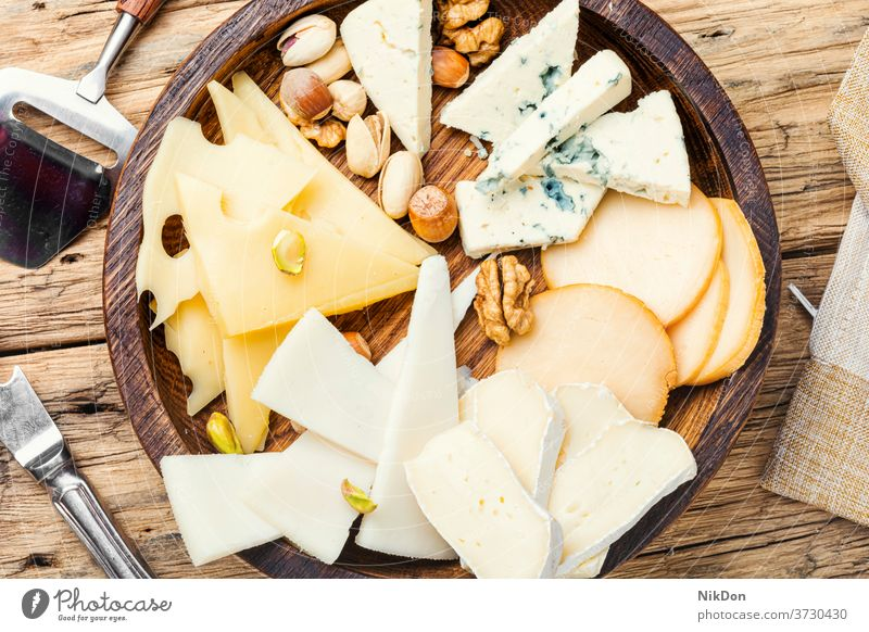 Set of sliced cheeses piece assorted snack healthy cutting appetizer delicatessen product delicious fresh parmesan tasty italian cheddar different meal food