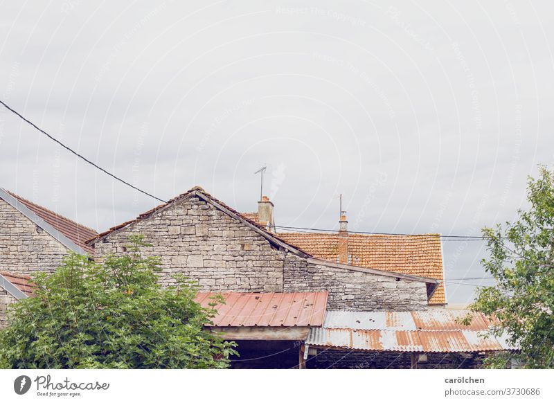 Village French country France Wall (barrier) Roof roofs Old unostentatious Dreary Country life Simple simple life