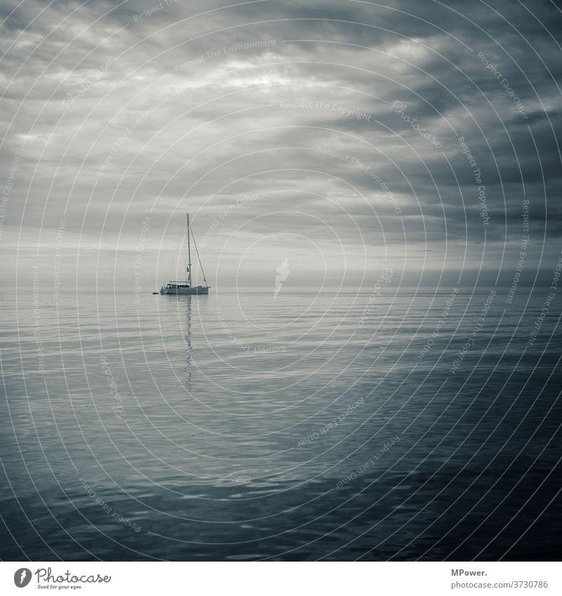 sailing boat off the coast Sailboat Sailing Coast Ocean Baltic Sea Drop anchor black-and-white photo Waves Water Vacation & Travel Navigation Sailing ship