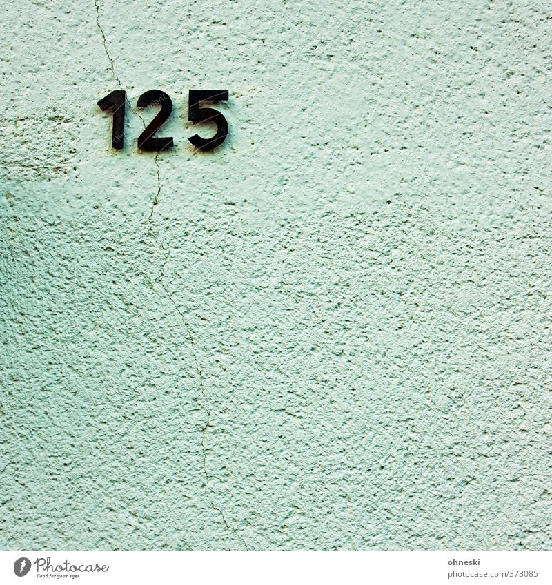 125 House (Residential Structure) Building Wall (barrier) Wall (building) Facade Crack & Rip & Tear Digits and numbers House number Colour photo Exterior shot