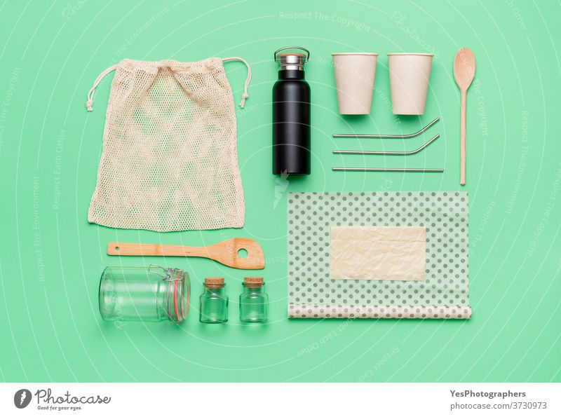 Sustainability concept flat lay. Set of reusable organic household objects. Sustainable living products background bag beeswax cloth biodegradable coffee cup