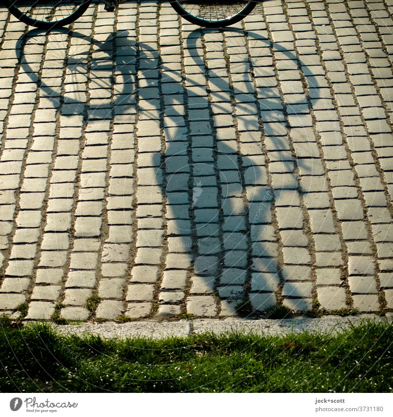 Sunshine on the way by bike Cycling Summer Lanes & trails Cobblestones Prenzlauer Berg Moody Long Human being Serene Mobility Perspective Shadow play Silhouette