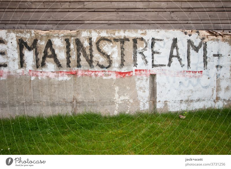 Mainstream on foundation Foundations Concrete Word Meadow Capital letter Street art Subculture Creativity Wooden fence Paintwork lost places Wall (building)