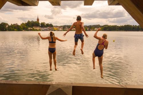 Jump into the water jump into the water Water Summer muck about Swimming & Bathing Vacation & Travel Joy Tourism Relaxation children bathe
