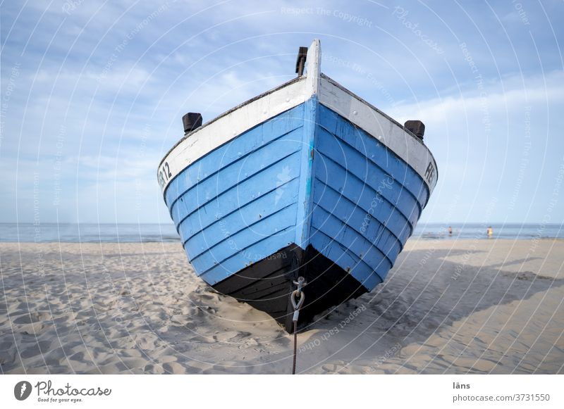 Boat on the beach boat Beach Coast Ocean Fishing boat Deserted Usedom Vacation & Travel Copy Space top Summer Sand Baltic Sea Tourism Exterior shot Island
