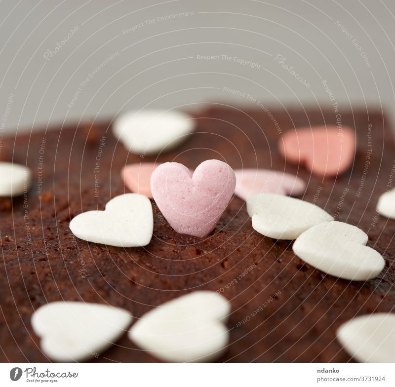heart-shaped sugar topping on brownie chocolate cake sprinkling bake baked bakery baking black closeup cocoa cooking cuisine dark delicious dessert eat food