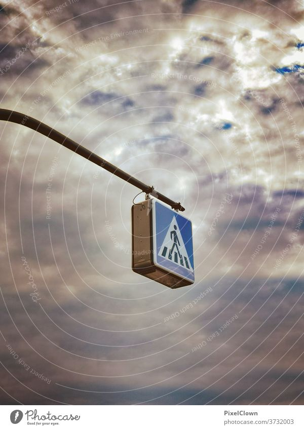 Walk in the sky pedestrian Street Traffic infrastructure Lanes & trails Going Road sign Signs and labeling Signage Road traffic Sky Clouds