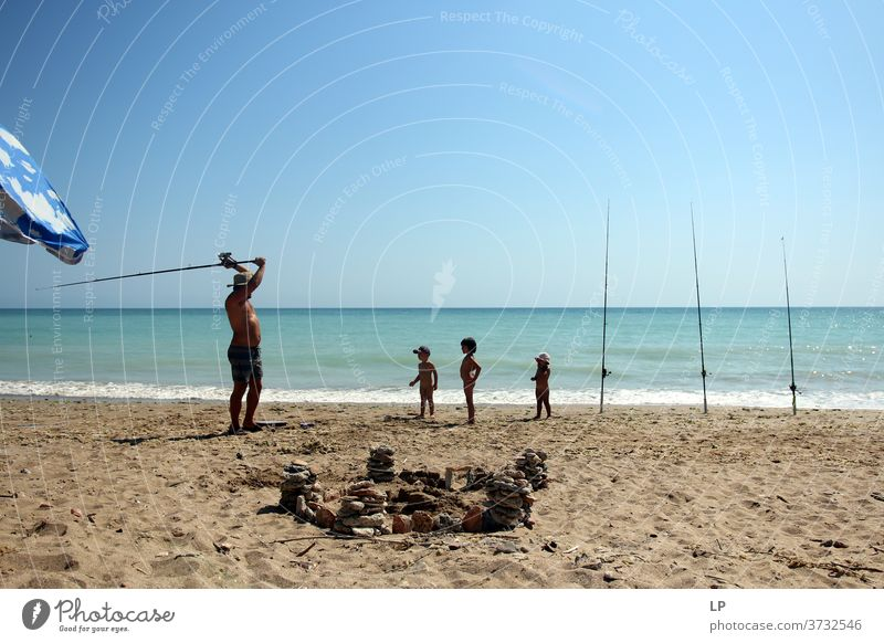 gone fishing- father teaching children how to fish hobby Bait Catch Fishing rod Leader lines Leisure and hobbies Fishing (Angle) Spoon bait Exterior shot Water