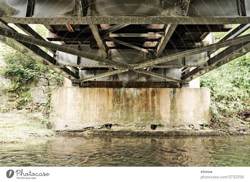 View of the underside of a small steel bridge that spans a river Steel bridge Metal Railway bridge River Bridge pier Bridge construction Rivet Water bottom