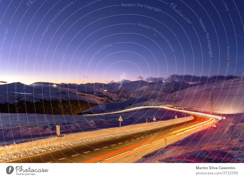 Night in Mountains in Grandvalira, Andorra altiture encamp long exposure mountains port d envalira route snow starts abstract andorra architecture astrology
