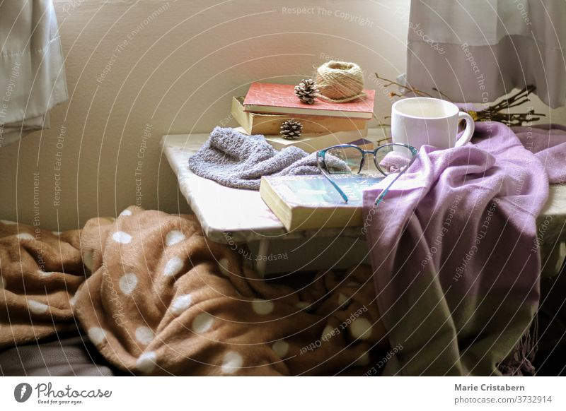 Light and airy bedroom showing concept of comfort, home quarantine and fall season theme home quarantine concept autumn cozy home interior indoors no people