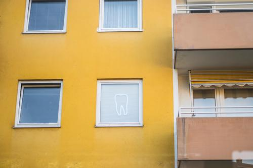 dental surgeon Dentist dental practice tooth Window Decoration Facade Dentistry Dental Yellow Neon sign house wall