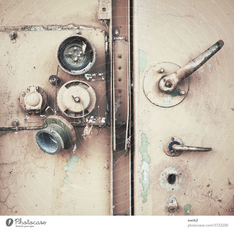Key misplaced door Metal door Closed Old Lever Locking mechanism Exterior shot Close-up Detail Deserted Copy Space top Colour photo Door handle Safety