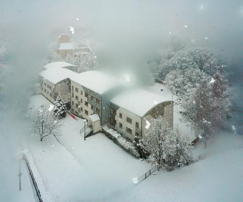 Blurred view Winter Snowfall Beautiful weather Landscape House (Residential Structure) tree Frost To fall Exterior shot Deserted Copy Space top