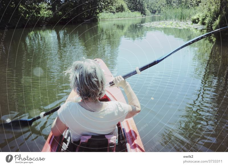 Flexitime Leisure and hobbies Trip Woman Back Arm Back of the head Human being Environment Nature Beautiful weather Summer Water Landscape Channel Paddle