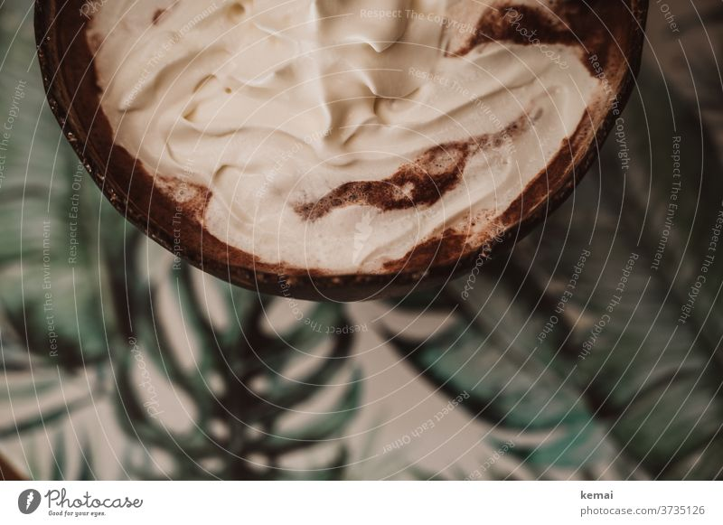 Hot chocolate with cream Cream Cup Table Bird's-eye view plan Delicious warm Autumn Hot Chocolate Beverage Hot drink Food Nutrition cute Mug Dessert Brown Green