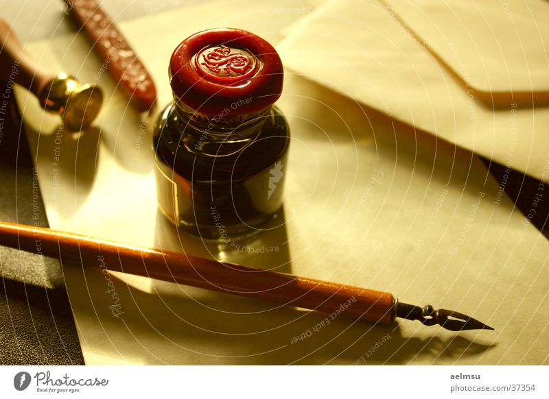 Old Romance Contact Write Letter (Mail) Still Life Ancient Envelope (Mail) Old fashioned Ink Paper Quill Calligraphy Notepaper
