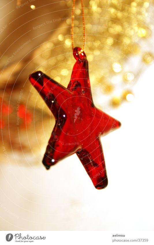 Christmas & Advent Red Feasts & Celebrations Glass Gold Star (Symbol) Decoration Jewellery Transparent Festive Checkmark