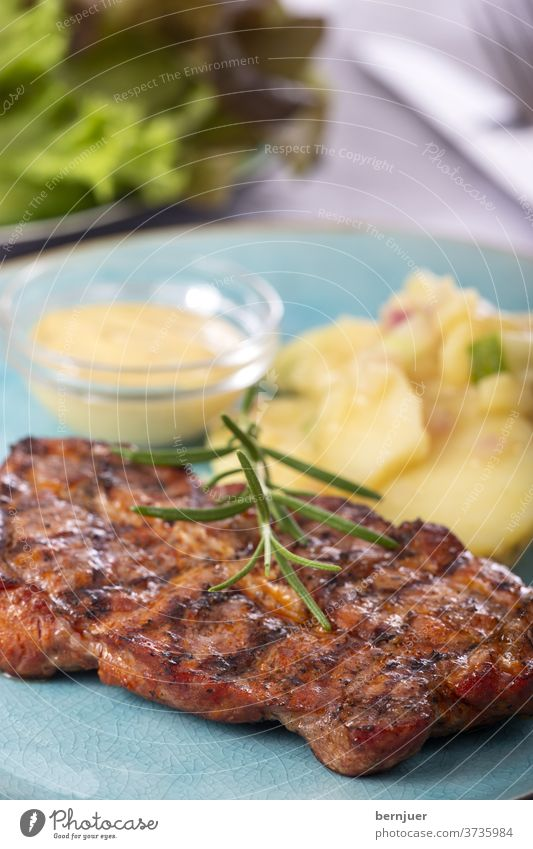 grilled pork steak with potato salad pork neck Pork Steak Juicy Fresh grilled meat Meat wood BBQ Eating Chop Protein Rustic barbecue Top view boil background