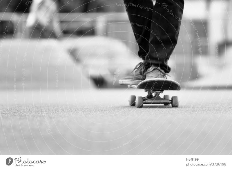 the skateboard rolls comfortably through the picture Skateboarding Sports Lifestyle Joy Youth (Young adults) Wooden board Easygoing Athletic Skate park Jeans