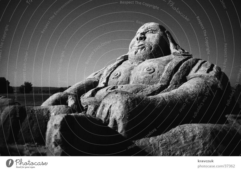 Sand Buddha Sculpture Orange filter Wide angle Analog Fat Heavy Obscure Salzgitter Lake Black & white photo Sun left-sighted