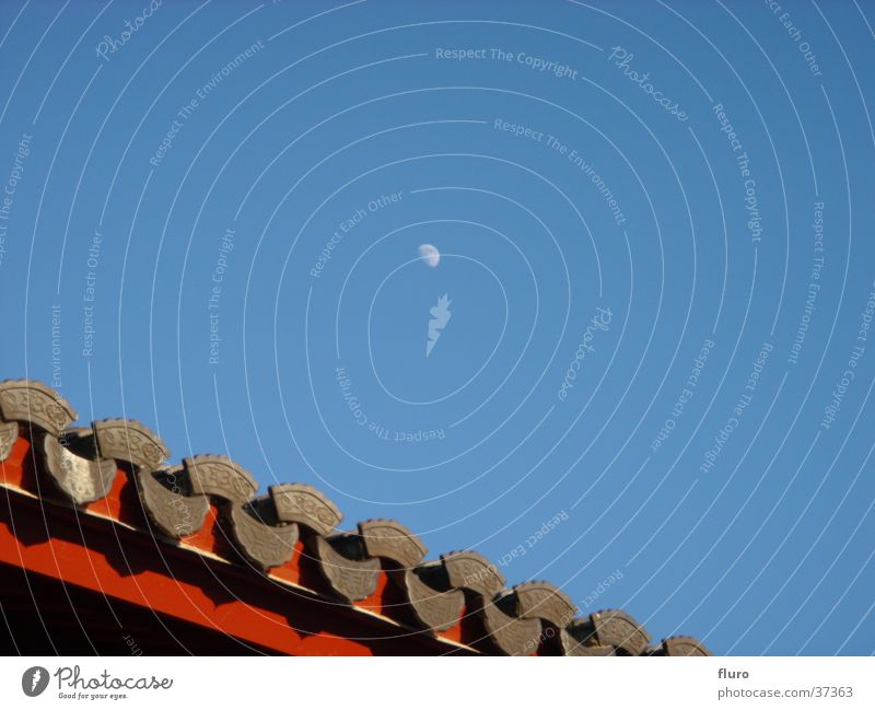 moonrayed chinese garden Roof Chinese Moon Sky Blue