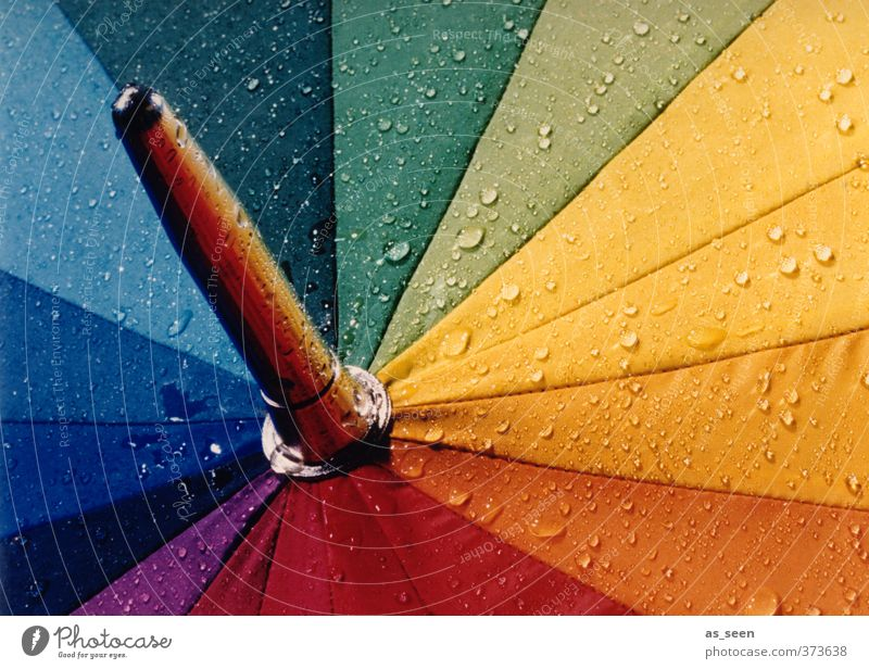 rainbow Drops of water Climate Weather Bad weather Rain Umbrella Metal Water Happiness Wet Point Blue Multicoloured Yellow Green Violet Orange Red