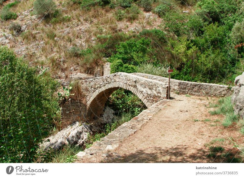 A medieval bridge in campania, italy cilento Auso river trekking ruins stone ancient nature outdoors tourism travel national park apennines historic landscape