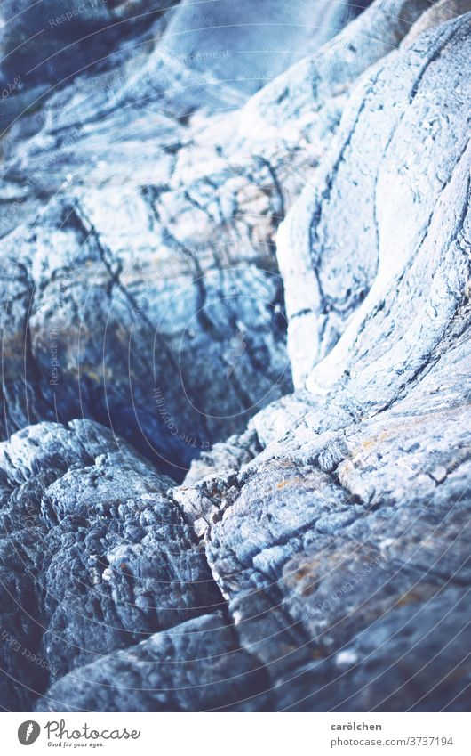 Cold rock Rock Hollow Blue chill Blur in the background Structures and shapes Deserted Stone Hard Sparse cracked Gray