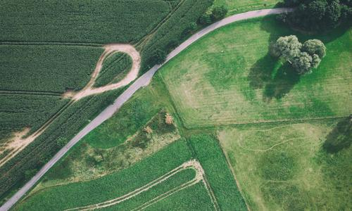 Many ways II aerial photograph drones UAV view Field Harvest Meadow Lawn Lanes & trails cross green Bird's-eye view curvaceous Street huts acre