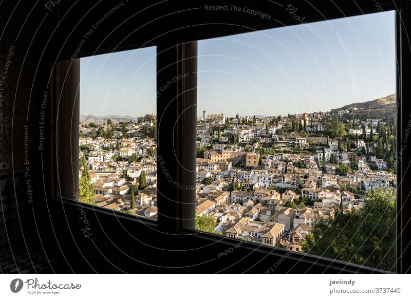 Albayzin district of Granada, Spain, from a window in the Alhambra palace albaicin sacromonte granada alhambra andalusia spain architecture spanish city view