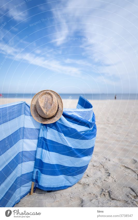 Windbreak on the beach Beach wind deflector Ocean Coast Sand Vacation & Travel Baltic Sea Sky Tourism Horizon Relaxation Usedom Straw hat Striped