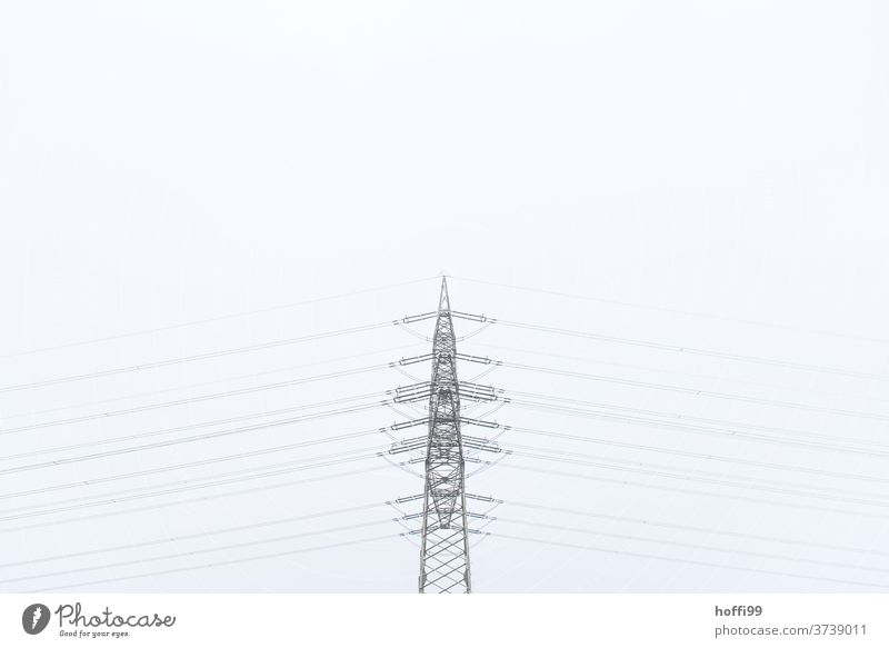 Power pole in nothing - balanced minimalist High voltage power line Electricity pylon Transmission lines electricity Energy industry Line Climate Performance