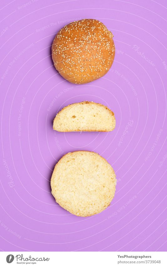 Bread buns isolated on a purple color. Top view of homemade burger buns background bake baked bakery baking balls bread buns bread roll burger rolls cooking