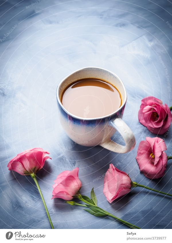 Mugs of coffee and pink flowers card cup mug still life drink hot milk espresso long group nobody food blue breakfast morning mother day valentine greeeting