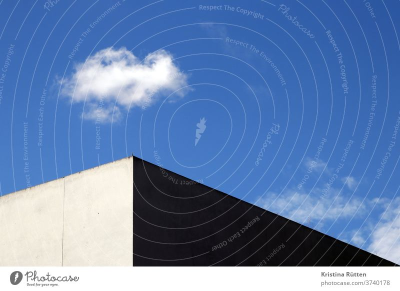 house corner and cloud Sky House (Residential Structure) built Concrete Corner Gray White Blue Light Shadow sunny Weather Architecture Style minimal