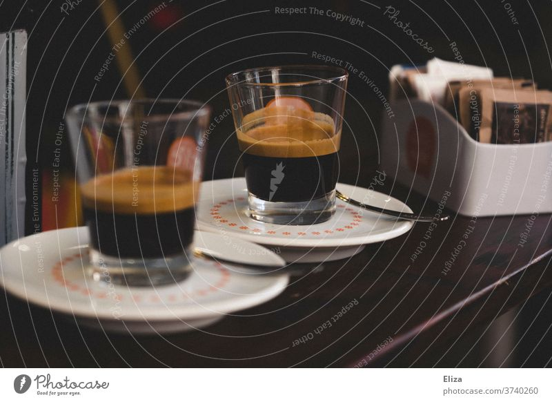 Two espressos at the bar in Italy Espresso Coffee Bear Counter To enjoy Café Caffeine traditionally Characteristic Aromatic wood