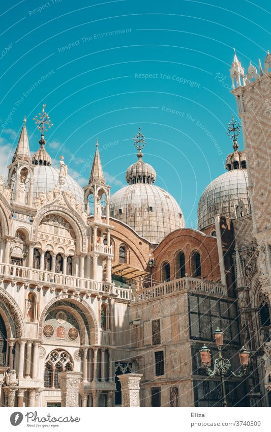 St Mark's Cathedral in front of a blue sky in Venice St. Marks Square St. Mark's Basilica Sky Blue Italy Tourism Tower Manmade structures Architecture Historic