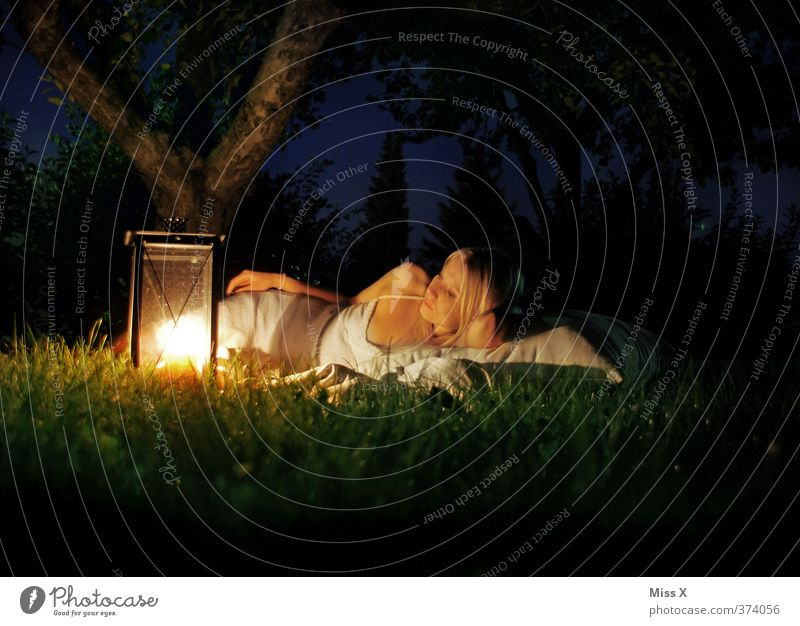 warm sb./sth. Relaxation Calm Vacation & Travel Adventure Camping Summer Human being Young woman Youth (Young adults) Woman Adults 1 18 - 30 years Night sky
