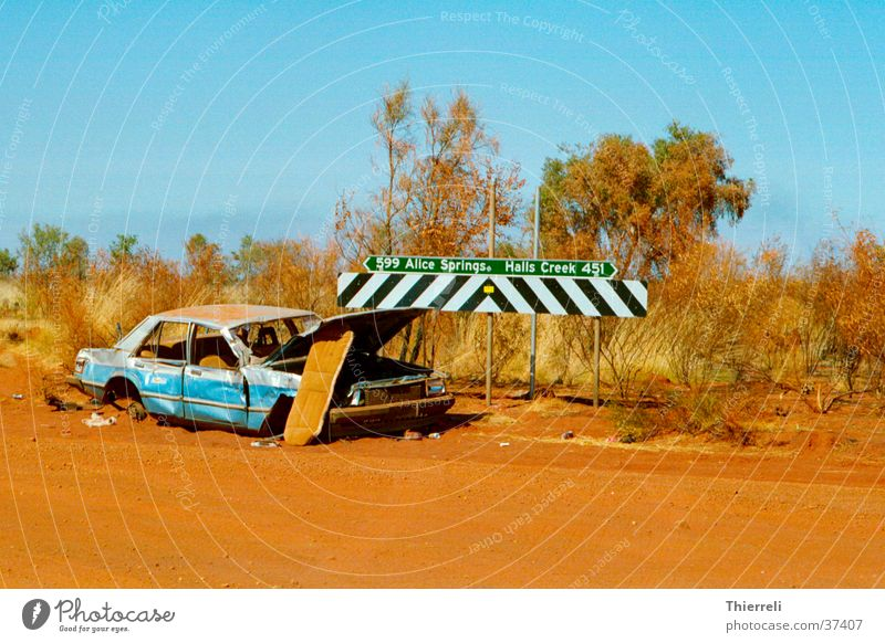 Junk? Scrap metal Broken Far-off places Australia Transport Tanami Desert Car Street
