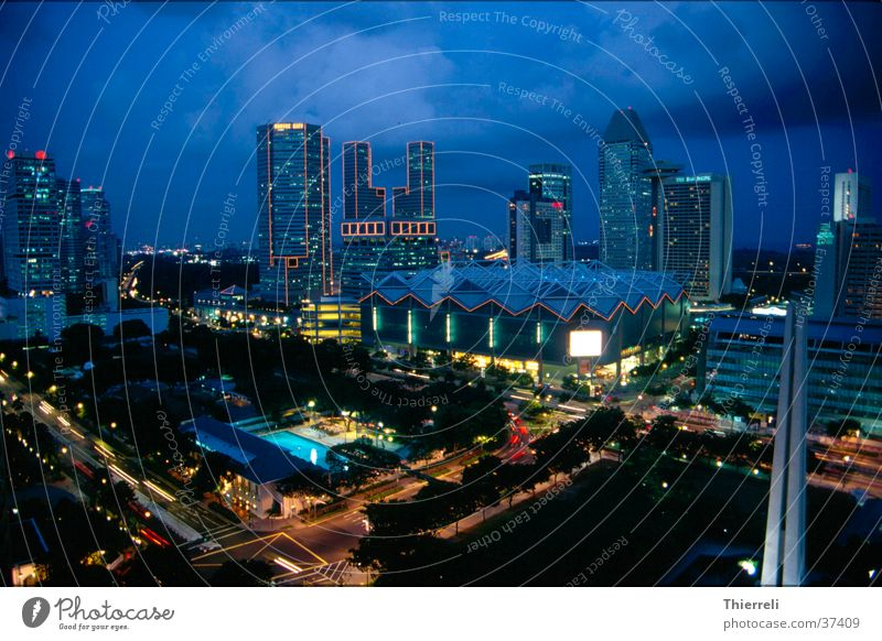 Singapore by Nigt Asia Night Town Success Skyline