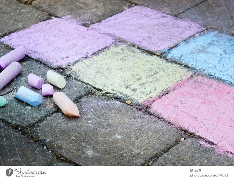 Playing Art Leisure and hobbies Infancy Painting (action, artwork) Draw Chalk Painted Children's game Stone slab Street painting
